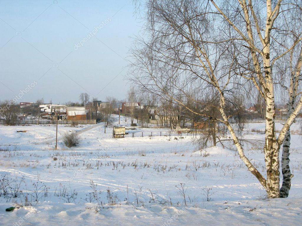 Winter landscape of small village
