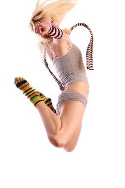 Female model in jump.