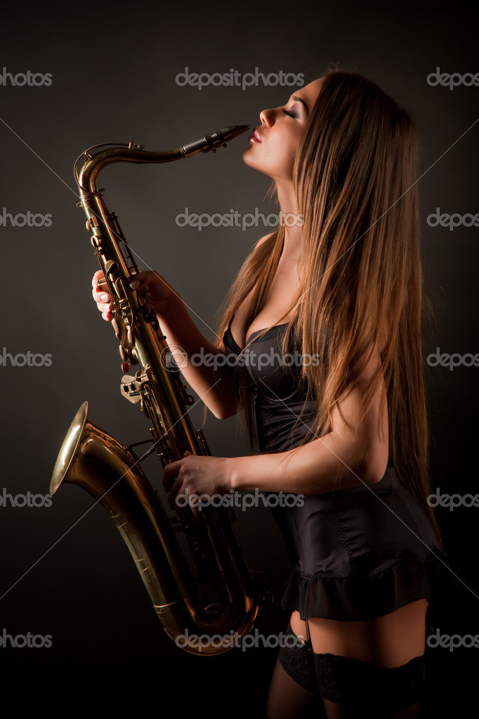 Girl With Sax  Stock Photo  Maxanner 1970035-7558