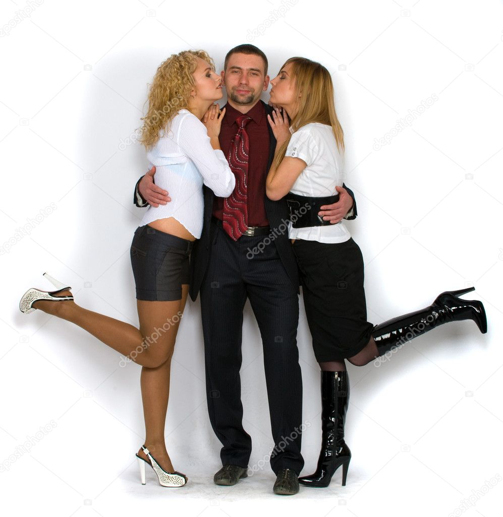 Business man with two girls — Stock Photo #1116532