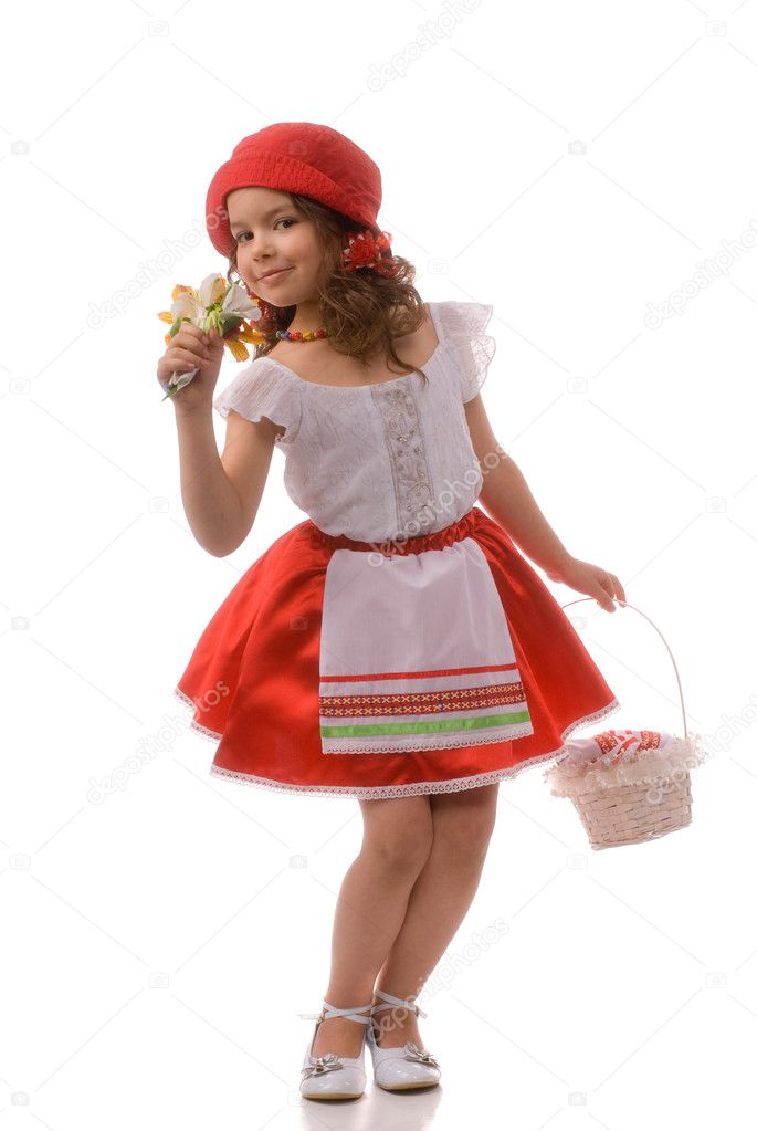 Little Red Riding Hood and flowers