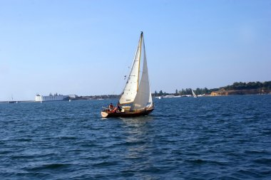 The yacht going under a sail in the Seva