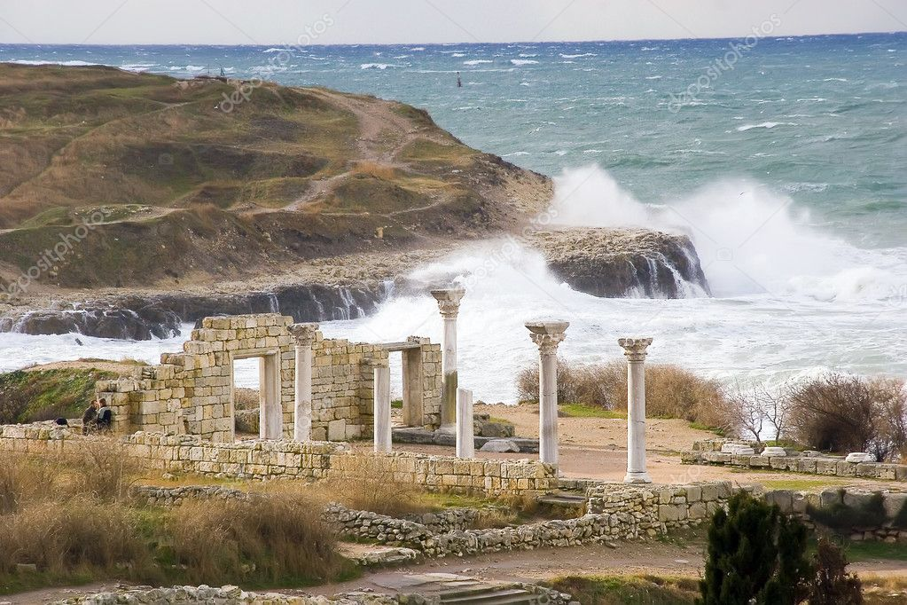 Winter storm at coast of ancient Cherson