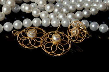 Beads and gold jewelry