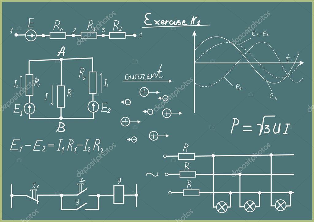 grafik, diagramm und formeln in lektion von elektrizität — Stockfoto ...