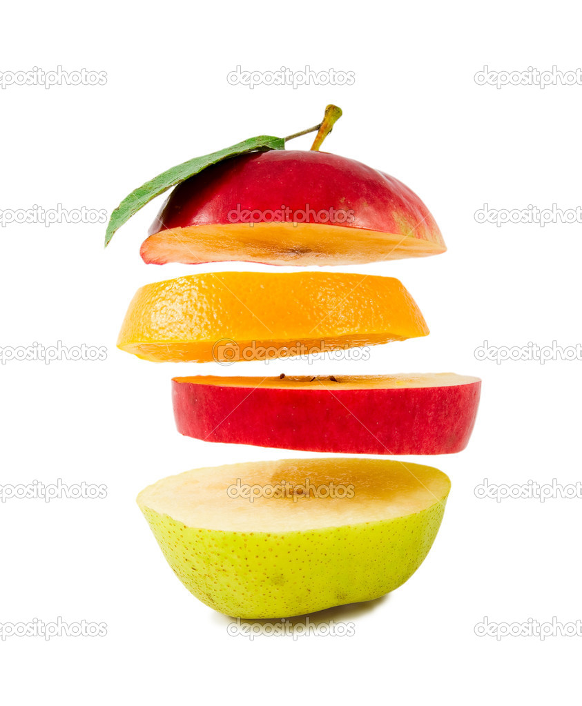 composition of different fruit flying sl u2014 stock photo serpla