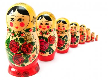 Russian dolls in line
