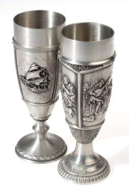 Two metal european wine goblets
