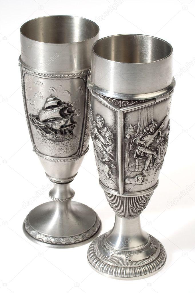 Two Metal European Wine Goblets Stock Photo C Serpla 1256068