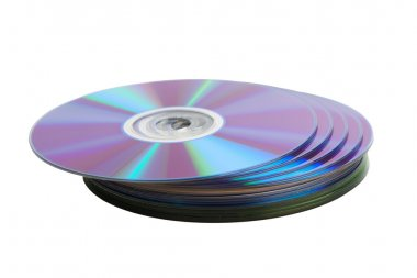 Heap of cd disks isolated over white