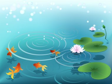 Pond with goldfish stock vector