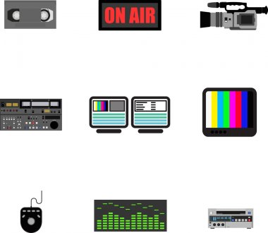 Set of ikons - television production. stock vector
