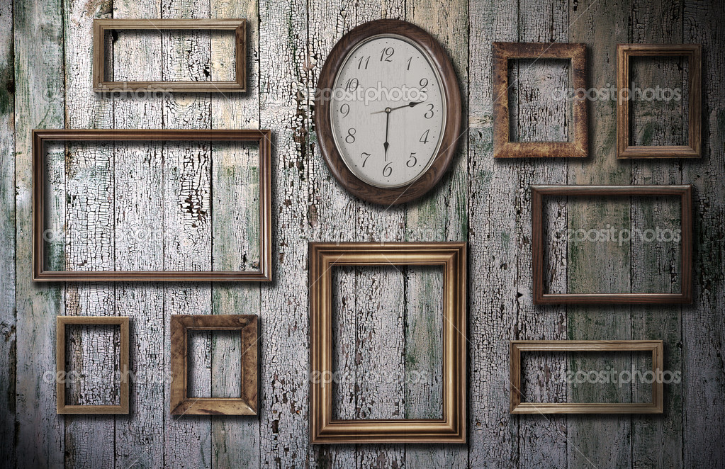 empty frames and watch on wooden wall stock photo 1133951 - Empty Frames On Wall