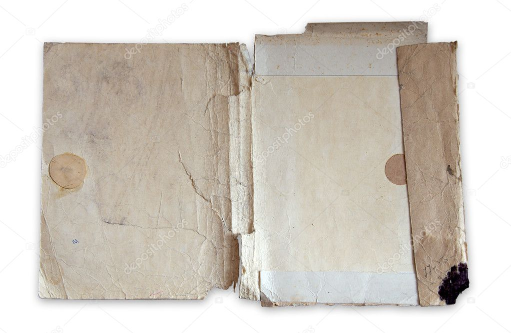 Old folder isolated on white background with clipping path