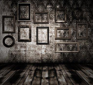 Old interior wooden frames