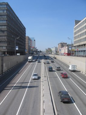 Moscow road.Bilateral Moscow road with some cars at sunny day