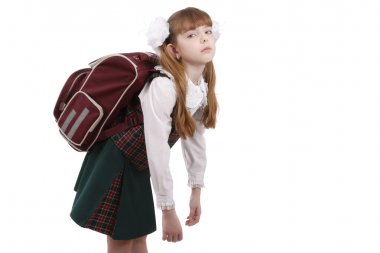 Schoolgirl is tired. Education