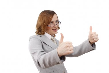 Successful business woman shows OK.