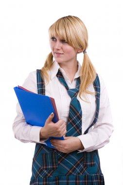 High schoolgirl in uniform with files