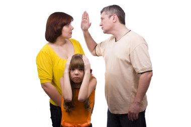 Conflict family. Husband striking wife