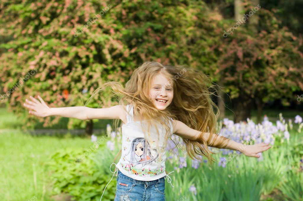 Happy girl with hands open