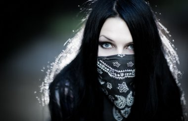 Young woman hooligan