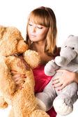 Fotografia giovane donna con giocattoli