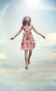 Young woman flying up. Soft colors. stock vector
