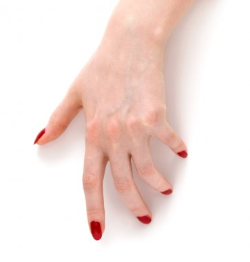 Woman hand with red nails