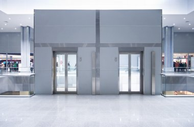 Lift doors on a top storey