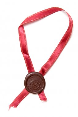 Sealing wax stamp with ribbon
