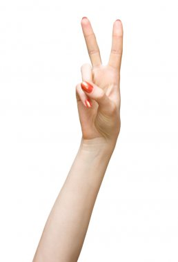 Woman hand victory sign