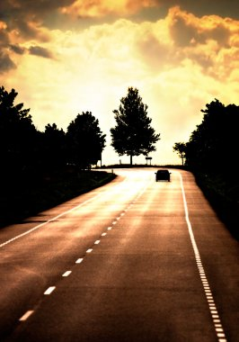 Road with lonely car