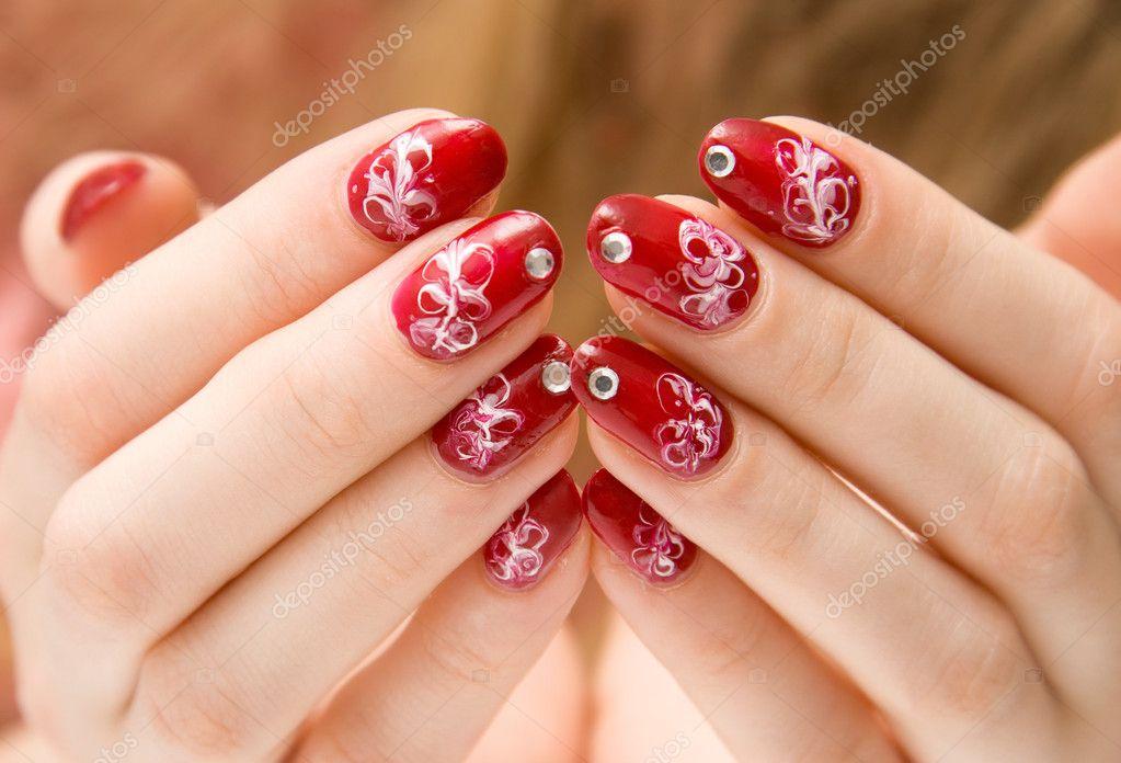 Kobieta Czerwone Paznokcie Ozdoby Zdjęcie Stockowe Chaoss 1676285