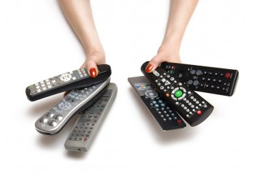 Woman hands with tv remote controls