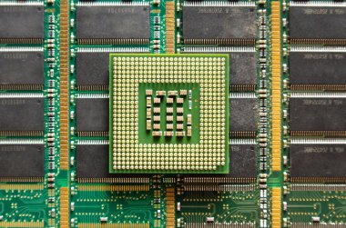 Cpu on computer chip background