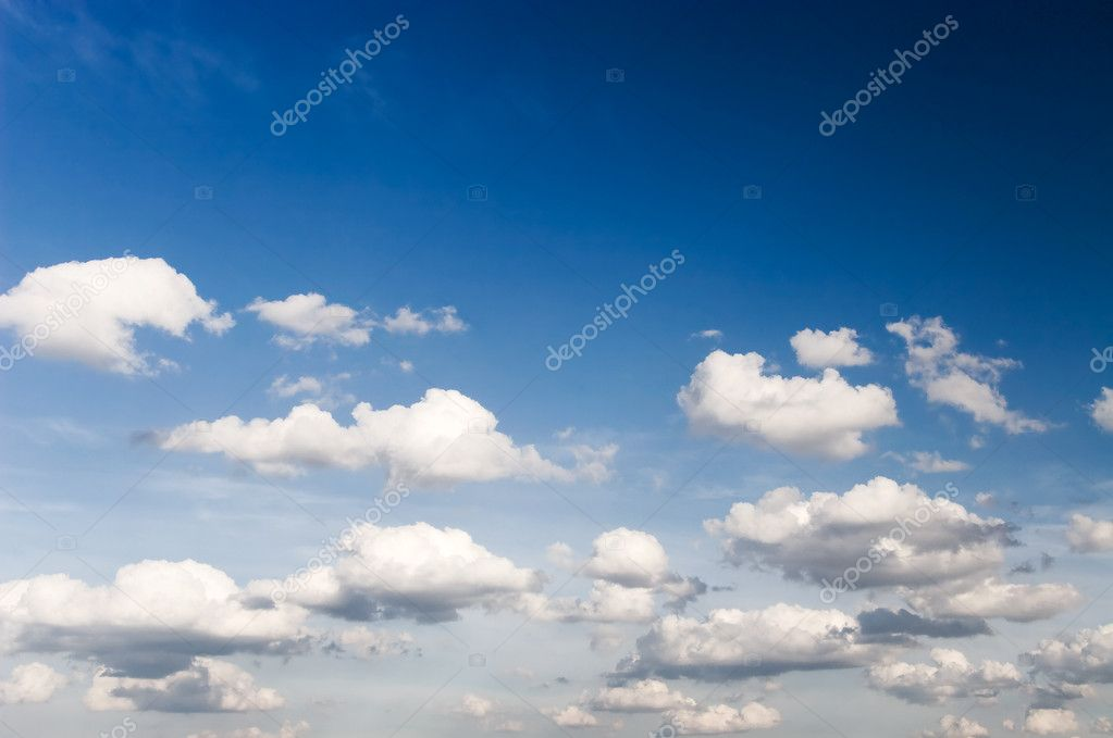 High contrast blue sky with clouds