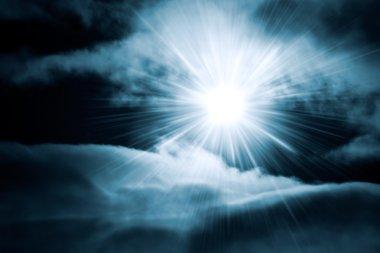 Bright shine through night sky