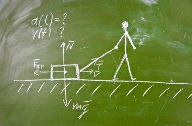 Physical problem sketch on blackboard