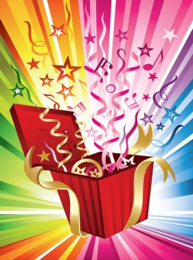 Illustration of streamers, stars and music notes bursting from a present on a rainbow background clip art vector