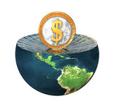 Us dollar coin on earth hemisphere isola