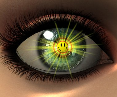 Beautiful girl eye in 3D with smiley fac