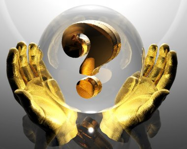 3d golden question mark in a hands