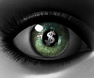 Beautiful girl eye in 3D with us dollar