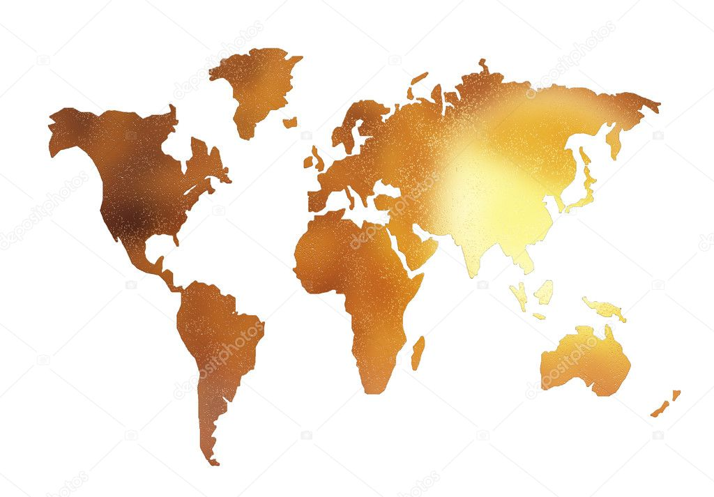 Golden world map silhouette isolated on stock photo alperium golden world map silhouette isolated on stock photo gumiabroncs Choice Image