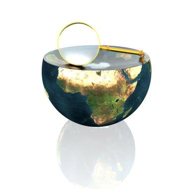 Magnifying glass on earth hemisphere