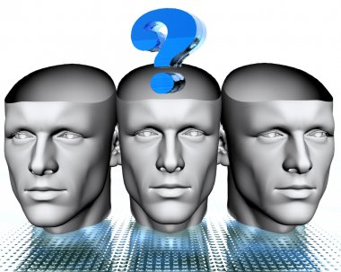 3D man heads with blue question mark
