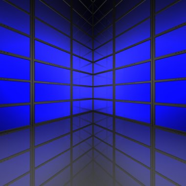 Video wall with blue screens