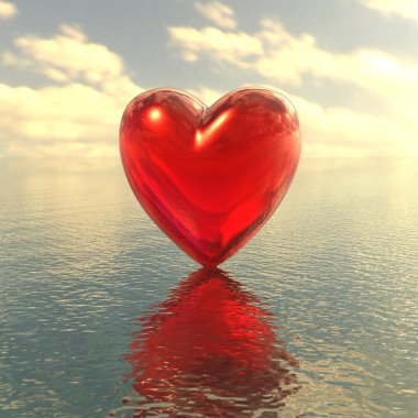 Red love heart on a water background