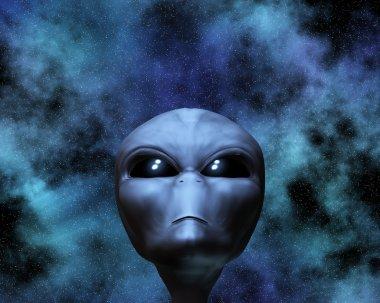 Alien portrait with stars